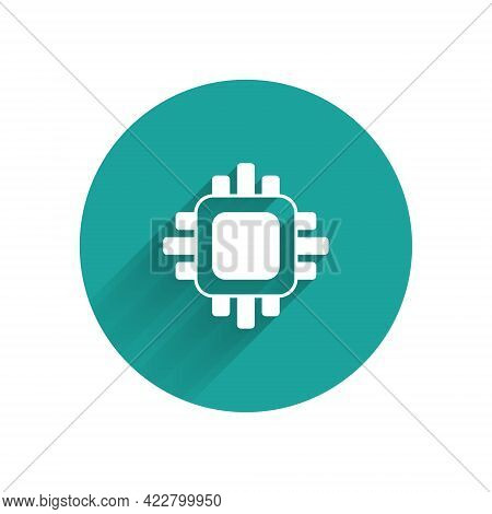 White Computer Processor With Microcircuits Cpu Icon Isolated With Long Shadow Background. Chip Or C