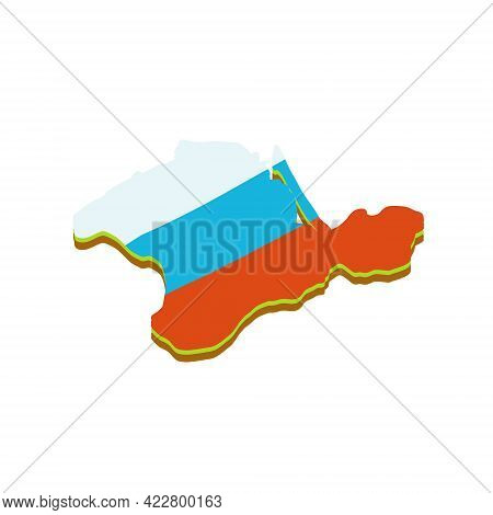 Map Of The Crimean Peninsula. Russian Flag. Southern Resort. Green Area. Flat Cartoon