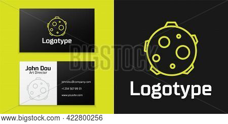 Logotype Line Ufo Abducts Cow Icon Isolated On Black Background. Flying Saucer. Alien Space Ship. Fu