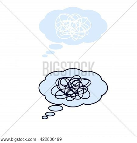 Bubble Cloud Tangled Thinking. Comic Book Icon Of Conversation And Thoughts. Confusion And Emotion.