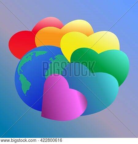 Pride Month Logo With Rainbow Hearts.lgbt Flag Hearts Surround The Earth. Symbol Of Pride With Heart
