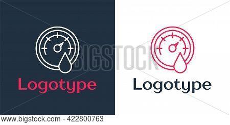 Logotype Line Sauna Thermometer Icon Isolated On White Background. Sauna And Bath Equipment. Logo De