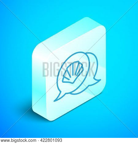 Isometric Line Scallop Sea Shell Icon Isolated On Blue Background. Seashell Sign. Silver Square Butt