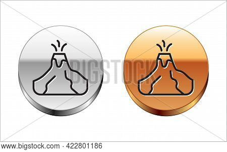 Black Line Volcano Eruption With Lava Icon Isolated On White Background. Silver-gold Circle Button.
