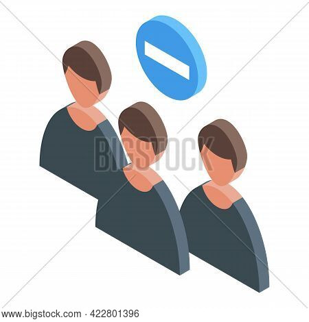 Delete User Group Icon. Isometric Of Delete User Group Vector Icon For Web Design Isolated On White