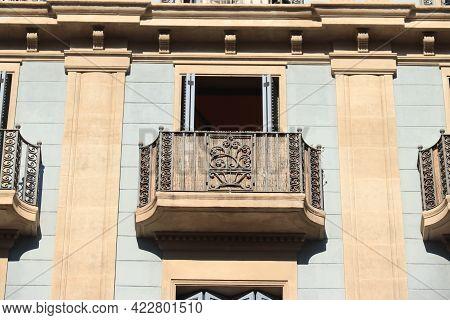Barcelona, Spain - September 29th, 2019: Facades In Passeig De Gracia, Major Avenue In Barcelona In