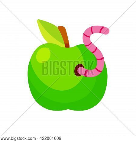 Green Apple. Fruit With A Worm. Flat Cartoon Illustration. Spoiled Rotten Food