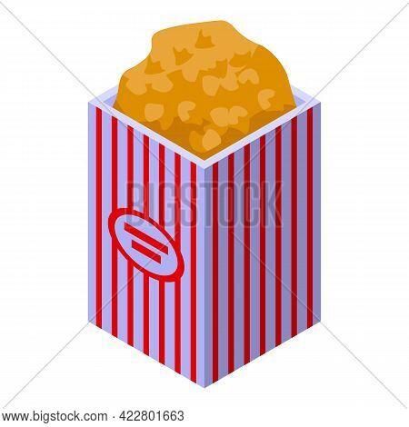 Popcorn Box Icon. Isometric Of Popcorn Box Vector Icon For Web Design Isolated On White Background