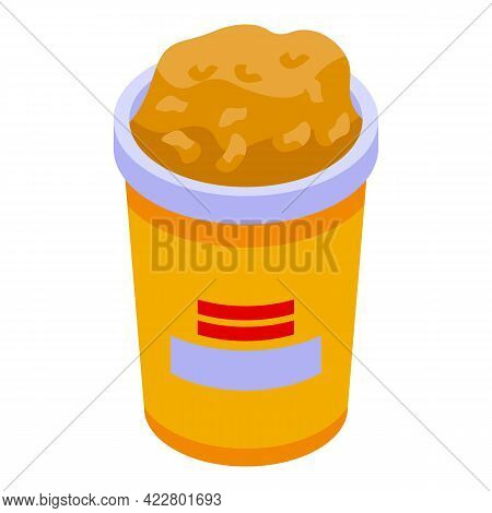 Popcorn Cinema Cup Icon. Isometric Of Popcorn Cinema Cup Vector Icon For Web Design Isolated On Whit
