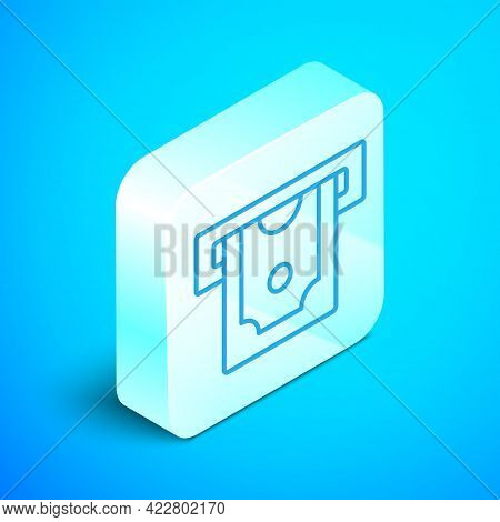 Isometric Line Atm - Automated Teller Machine And Money Icon Isolated On Blue Background. Silver Squ