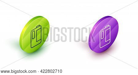 Isometric Line Plastic Bottle With Handle For Milk Icon Isolated On White Background. Gallon Of Milk