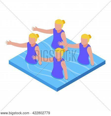 Synchronized Swimming Group Icon. Isometric Of Synchronized Swimming Group Vector Icon For Web Desig