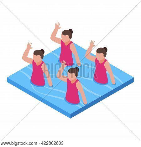 Synchronized Swimming Girls Icon. Isometric Of Synchronized Swimming Girls Vector Icon For Web Desig