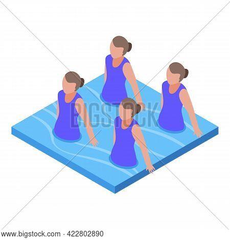 Synchronized Swimming Aerobic Icon. Isometric Of Synchronized Swimming Aerobic Vector Icon For Web D