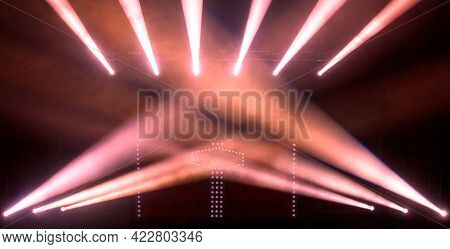 The Theater Stage Is Illuminated By Symmetrically Powerful Red Floodlights. Presentation. Movie. Sel