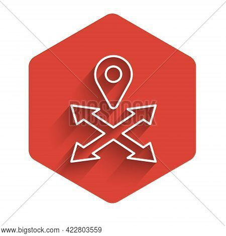 White Line Map Pin Icon Isolated With Long Shadow Background. Navigation, Pointer, Location, Map, Gp