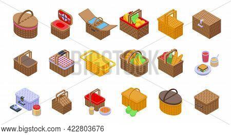 Picnic Basket Icons Set. Isometric Set Of Picnic Basket Vector Icons For Web Design Isolated On Whit