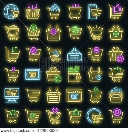 Cart Supermarket Icons Set. Outline Set Of Cart Supermarket Vector Icons Neon Color On Black
