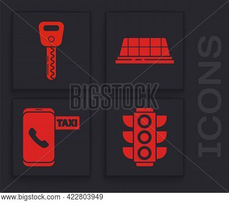 Set Traffic Light, Car Key, Taxi Car Roof And Taxi Call Telephone Service Icon. Vector
