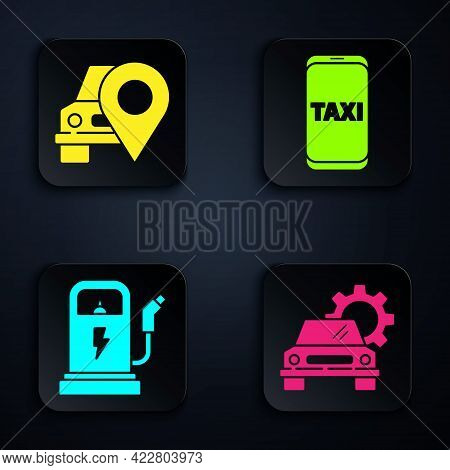 Set Car Service, Map Pointer With Taxi, Electric Car Charging Station And Taxi Call Telephone Servic