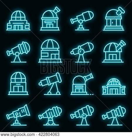 Planetarium Icons Set. Outline Set Of Planetarium Vector Icons Neon Color On Black