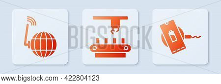Set Factory Conveyor System Belt, Social Network And Wireless Charger. White Square Button. Vector