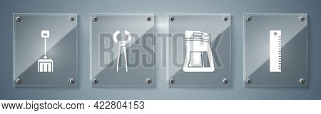 Set Ruler, Cement Bag, Pincers And Pliers And Snow Shovel. Square Glass Panels. Vector