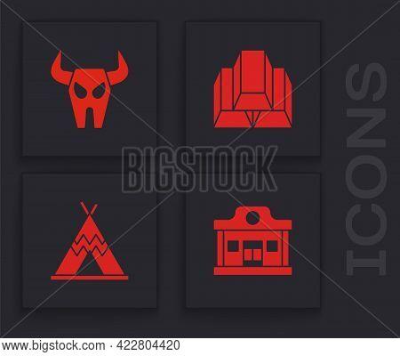 Set Wild West Saloon, Buffalo Skull, Gold Bars And Indian Teepee Or Wigwam Icon. Vector