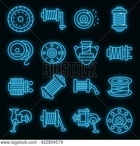 Fishing Reel Icons Set. Outline Set Of Fishing Reel Vector Icons Neon Color On Black