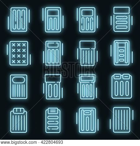 Inflatable Mattress Icons Set. Outline Set Of Inflatable Mattress Vector Icons Neon Color On Black
