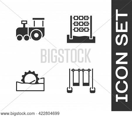 Set Double Swing, Toy Train, Ferris Wheel And Tic Tac Toe Game Icon. Vector