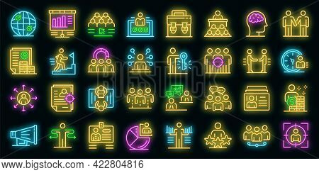 Recruiter Icons Set. Outline Set Of Recruiter Vector Icons Neon Color On Black