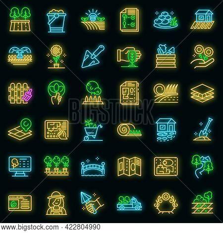 Landscape Designer Icons Set. Outline Set Of Landscape Designer Vector Icons Neon Color On Black