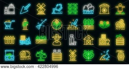 Producer Icons Set. Outline Set Of Producer Vector Icons Neon Color On Black