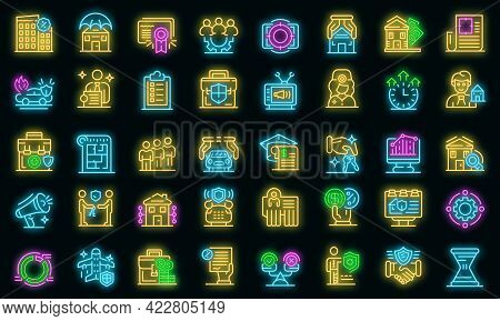 Advertising Agent Icons Set. Outline Set Of Advertising Agent Vector Icons Neon Color On Black