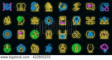Sociology Icons Set. Outline Set Of Sociology Vector Icons Neon Color On Black