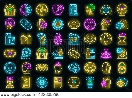 Psychologist Icons Set. Outline Set Of Psychologist Vector Icons Neon Color On Black