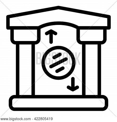 Bank Reserves Building Icon. Outline Bank Reserves Building Vector Icon For Web Design Isolated On W