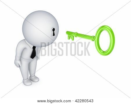 3d small person with a keyhole in a head.