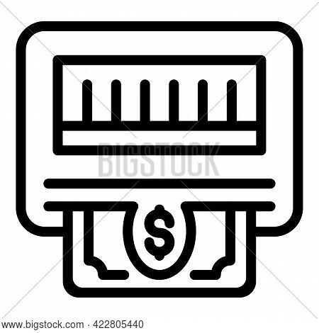 Atm Cash Icon. Outline Atm Cash Vector Icon For Web Design Isolated On White Background