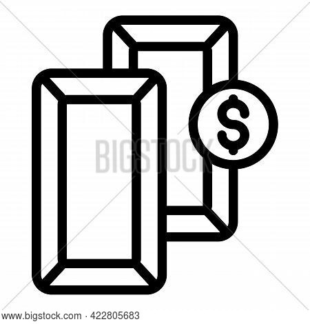 Gold Bank Reserves Bars Dollar Icon. Outline Gold Bank Reserves Bars Dollar Vector Icon For Web Desi