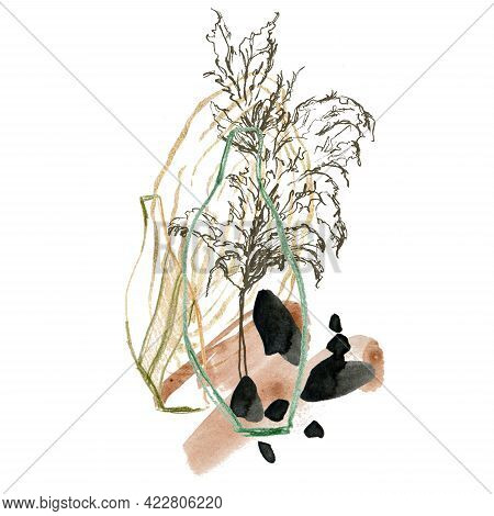 Watercolor Abstract Composition Of Pencil Vases And Linear Pampas Grass. Hand Painted Linear Card Of