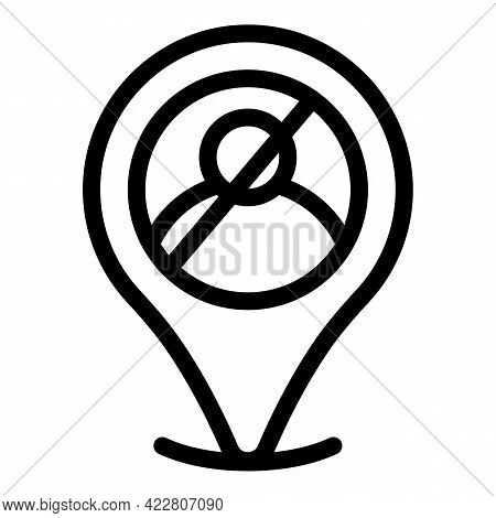 Blacklist Gps Pin Icon. Outline Blacklist Gps Pin Vector Icon For Web Design Isolated On White Backg