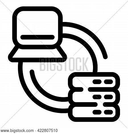 Content Data Server Icon. Outline Content Data Server Vector Icon For Web Design Isolated On White B