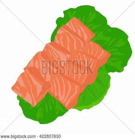 Salmon Fillet Vector Stock Illustration. Sliced Pieces Of Fresh Fish Meat. Sashimi. Isolated On A Wh