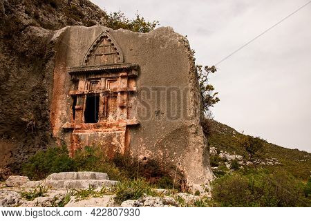 View On Old Lycian Rock Tomb Of Ancient City
