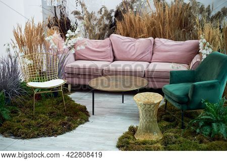 The Interior Is Eco-style.pink Sofa With Voluminous Pillow. Moss On The Floor, Cereals, Fern, Pampas
