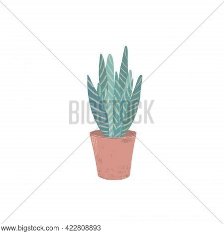 Green Leaves Homeplant In A Trendy Dusky Pink Clay Pot Isolated Hand Painted Image, Simple Scandinav