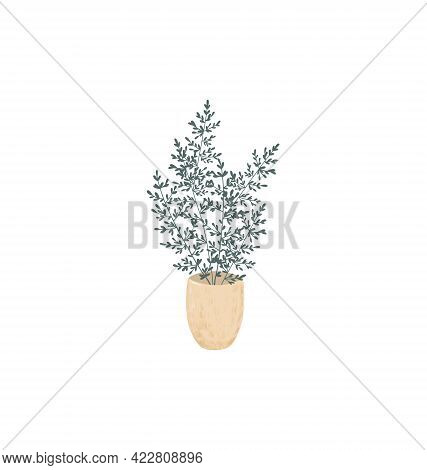 Small Green Leaves Homeplant In A Trendy Beige Worn Clay Pot Isolated Hand Painted Image, Simple Sca