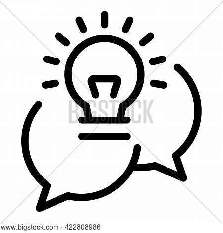 Brainstorming Chat Icon. Outline Brainstorming Chat Vector Icon For Web Design Isolated On White Bac